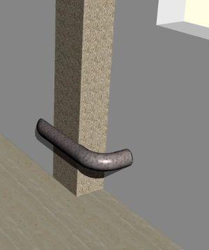 Tubazione passante su pilastro con riduzione della sezione resistente