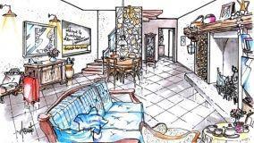Idea progettuale per un soggiorno in stile rustico