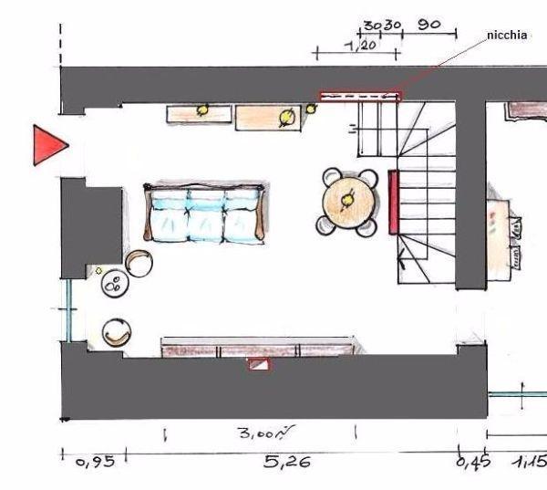 Salone in stile rustico - Disegno pianta casa ...