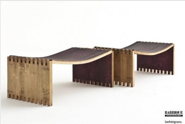 Sedute in barrique di San Patrignano Design Lab