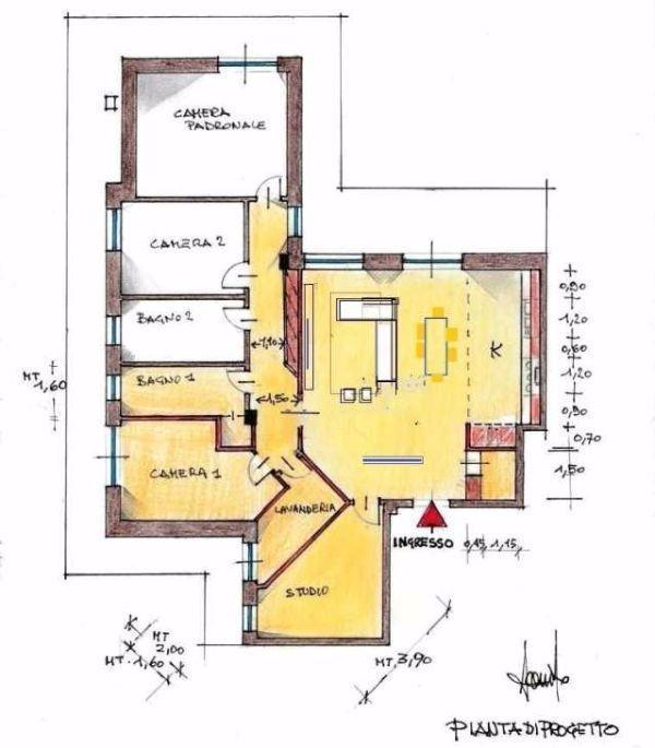 Idea di progetto per appartamento di 150 mq: pianta distributiva