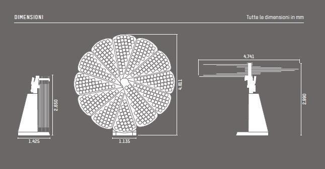 Dimnesioni batteria fotovoltaica Smartflower POP