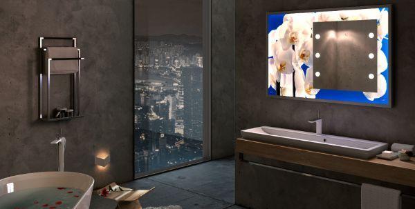 Specchio luminoso a parete e personalizzato con stampa di Cantoni