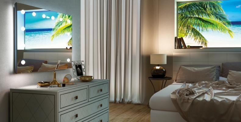 Specchio luminoso a parete per la casa di Cantoni