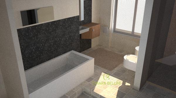 Ristrutturazione appartamento anni 70 render bagno