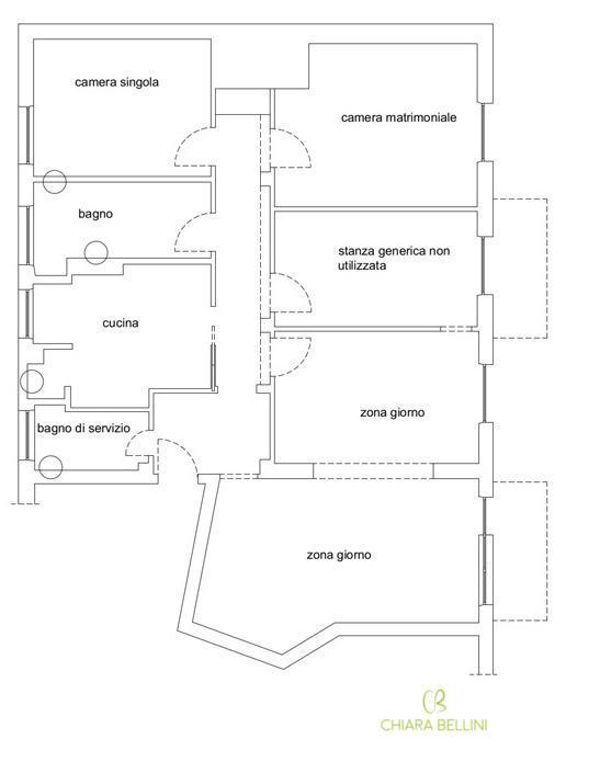 Ristrutturazione appartamento pianta stato di fatto