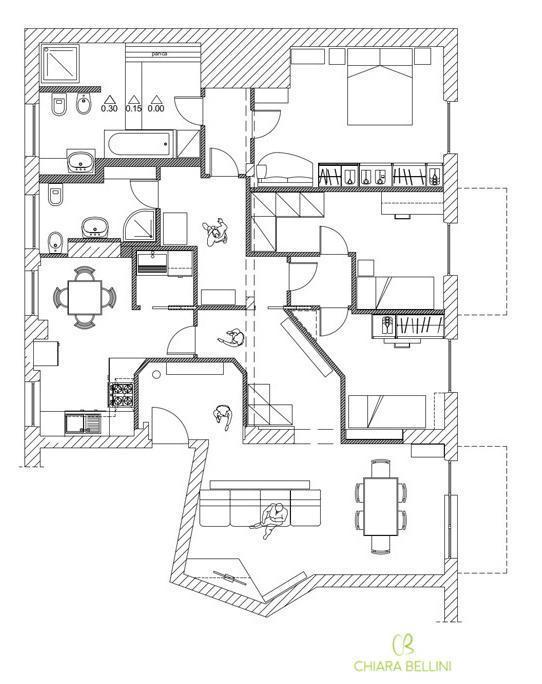 Ristrutturazione appartamento pianta stato di progetto