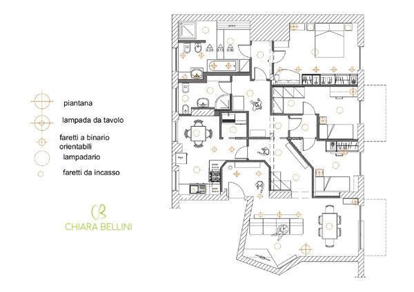 Ristrutturazione appartamento anni 70 pianta punti luce
