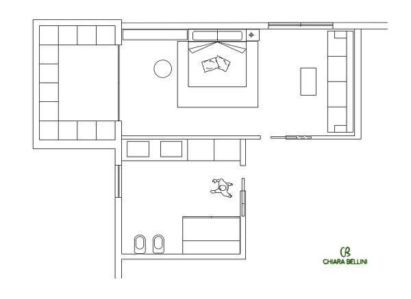 Pianta della ristrutturazione di una camera da letto  in un casale