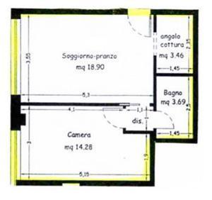Ristrutturazione mini appartamento, pianta stato di fatto