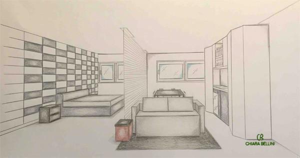 Ristrutturazione miniappartamento, prospettiva open space