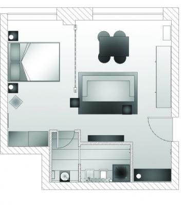 Ristrutturazione miniappartamento, pianta stato di progetto