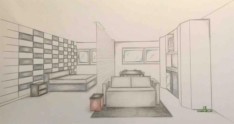 Ristrutturazione miniappartamento, prospettiva  openspace