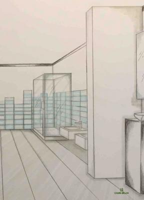 Ristrutturazione miniappartamento, prospettiva del bagno