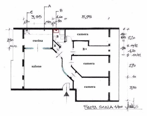 Appartamento 100 mq idea di progetto for Piani e disegni di casa con 2 camere da letto