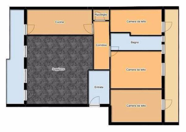 Appartamento 100 mq idea di progetto for 3 camere da letto 3 piani del bagno