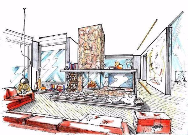 Un camino bifacciale, come penisola divisoria tra living e retrostante studio