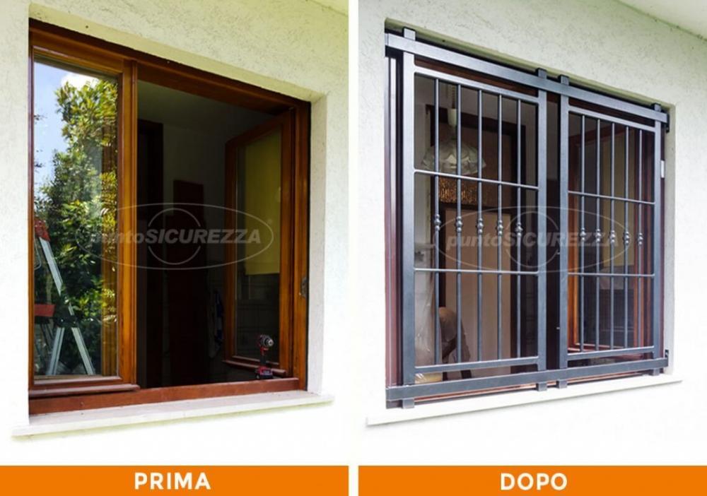 Prima e dopo l'installazione di una inferriata per finestre
