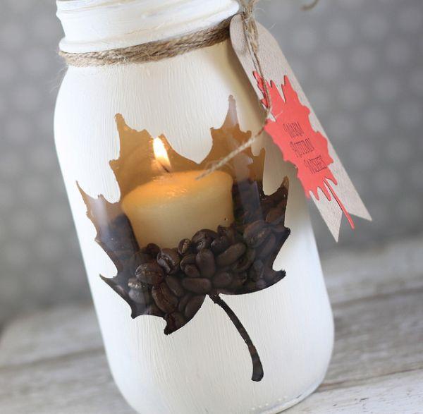 Portacandele fai da te con decorazione vaso in vetro di Soapboxcreations.blogspot.it