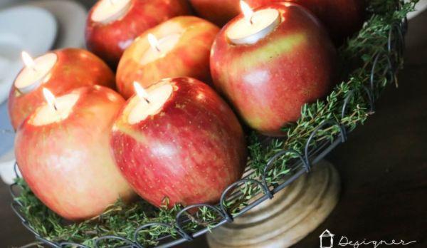 Portacandele fai da te green con le mele di Designertrapped.com