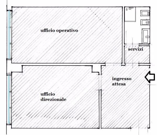 Pianta distributiva di studio professionale: zona presidenziale e operativa