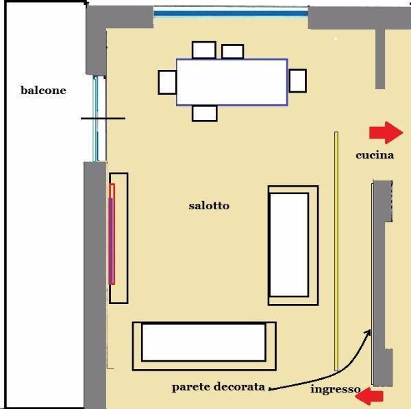 Pianta di salotto con parete decorativa divisoria vista in sezione