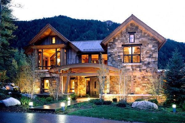 Casa in montagna in pietra da Pinterest