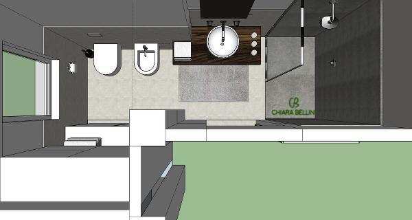 Pianta 3d di un bagno ricavato da un ampliamento esterno