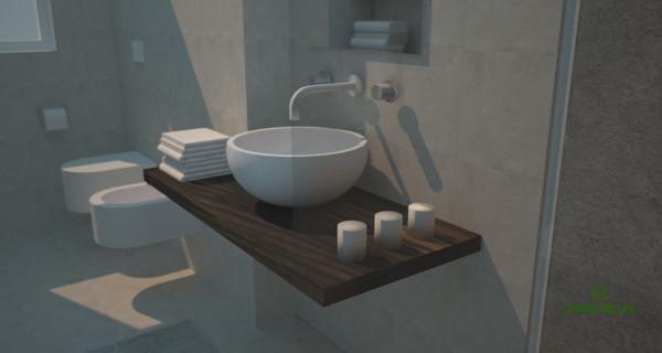 Ampliare un bagno sfruttando una fioriera esterna: vista prospettica del lavabo