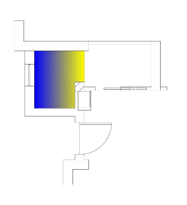 Ampliamento per ricavare un bagno schema funzionale