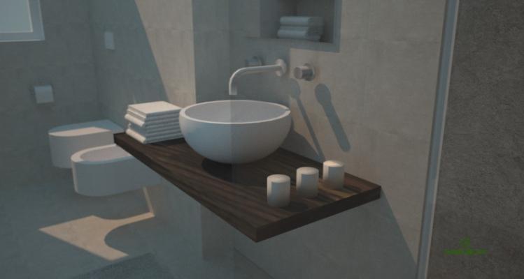 Ampliare un bagno sfruttando una fioriera esterna: render progetto