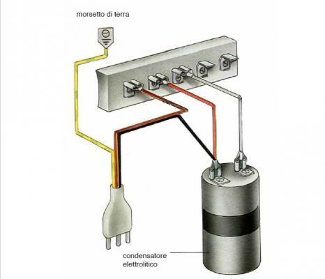 Motore lavatrice: collegamento a cinque morsetti in bassa velocità