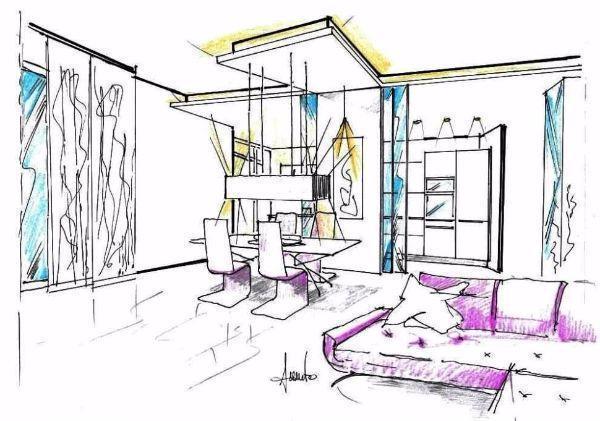 Disegno di cucina e soggiorno divisi da vetrate scorrevoli in struttura di cartongesso