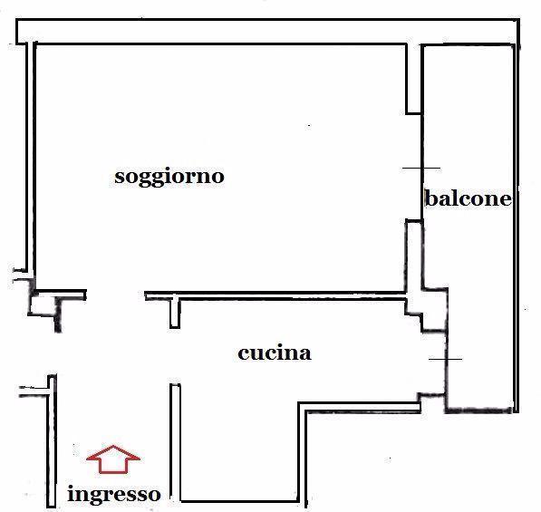 Cucina e soggiorno divisi da normali tramezzature: pianta stato dei luoghi