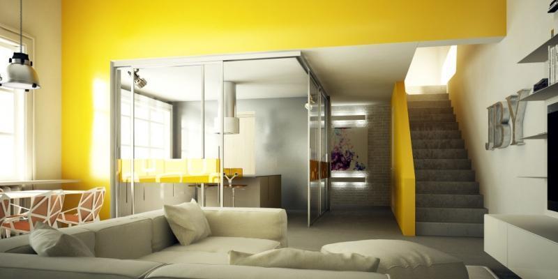 Porta scorrevole angolare , divisione cucina e soggiorno di Staino&Staino