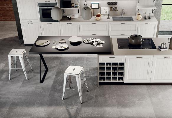 Scegliere la cucina modello classico Frida in legno bianco - Arredo3