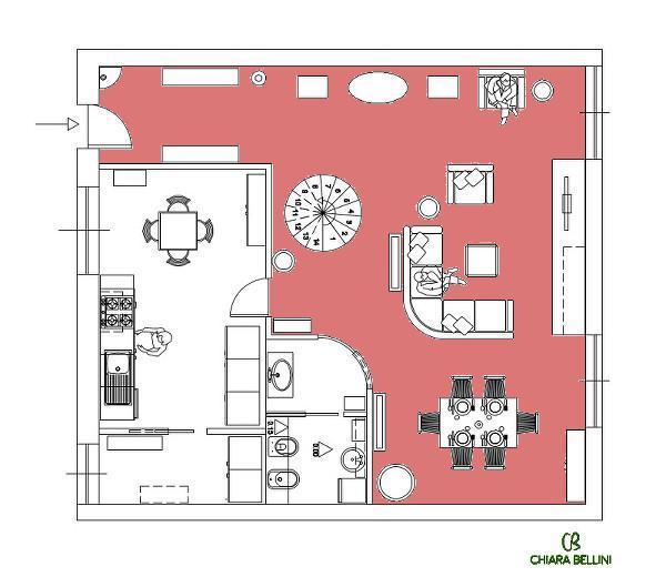 Ristrutturazione appartamento: living allo stato di progetto