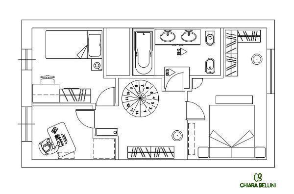 Ristrutturazione appartamento: ridistribuzione degli ambienti,  pianta stato di progetto primo piano