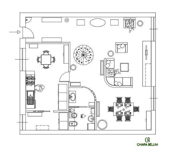 Ristrutturazione appartamento: pianta stato di progetto- ridistribuzione degli ambienti