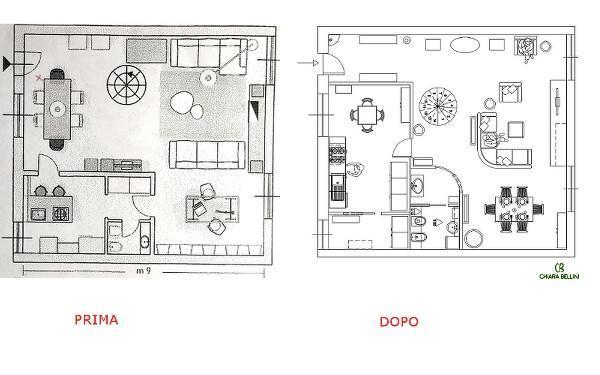 Ristrutturazione appartamento: ridistribuzione degli spazi interni, prima e dopo