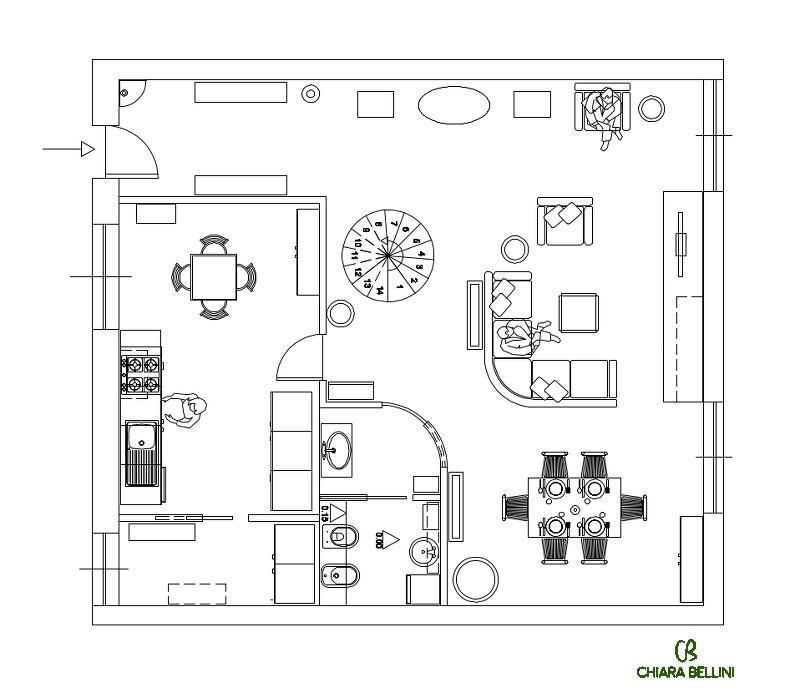 Ridistribuzione degli ambienti di un appartamento - pianta stato di progetto piano terra