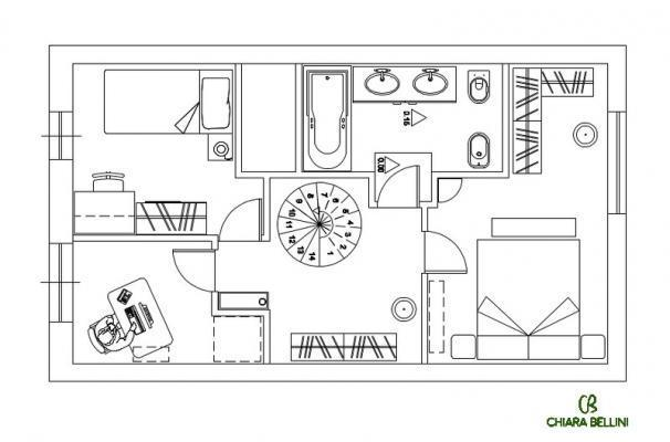 Ristrutturazione di un appartamento - pianta stato di progetto primo piano