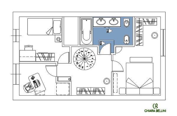Ristrutturazione di un appartamento - dettaglio bagno della zona notte
