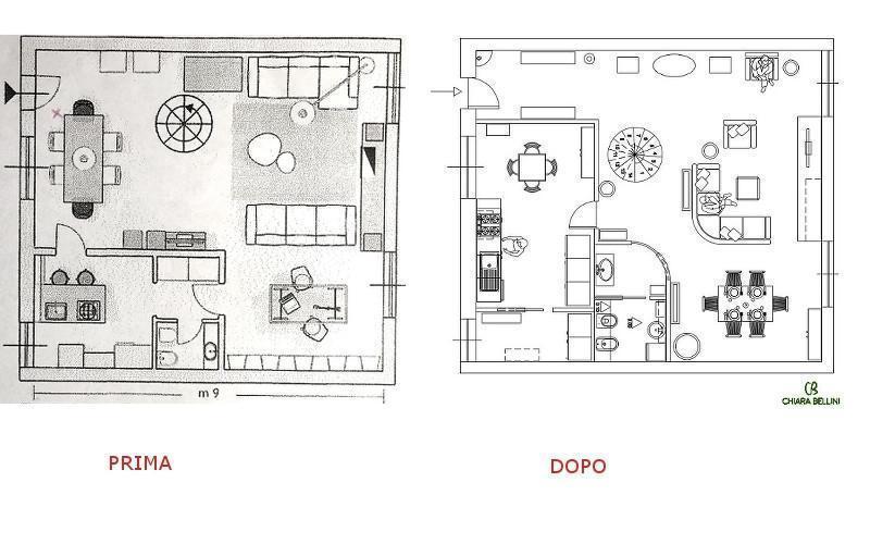 Ristrutturazione di un appartamento - ridistribuzione degli spazi prima e dopo