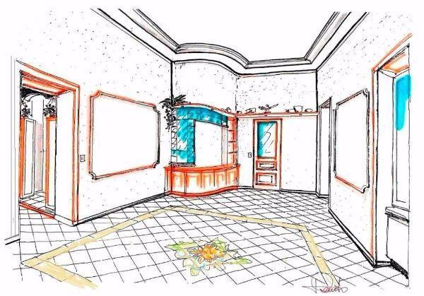 Pavimento con greca decorativa per il salone: disegno prospettico