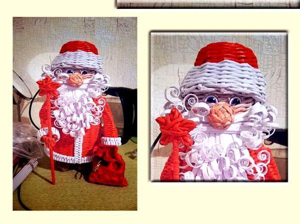 Babbo Natale realizzato con cannucce di carta, by vk.com