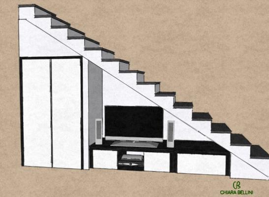 Soluzioni per il sottoscala: area tv e parete attrezzata