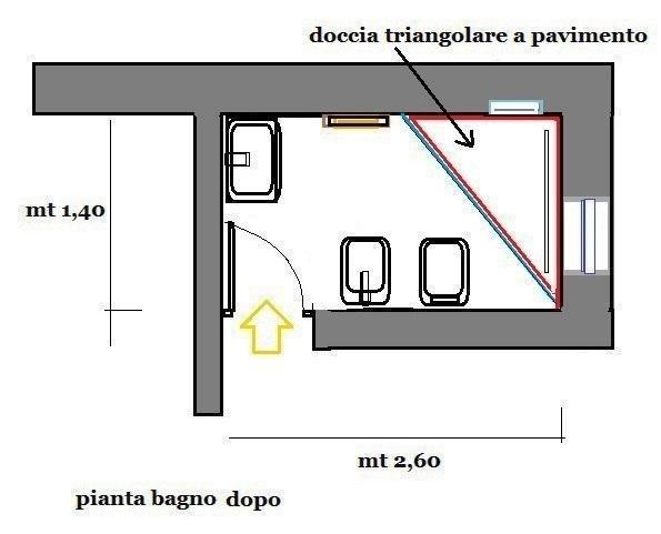 Pianta di bagno con cabina doccia triangolare a pavimento