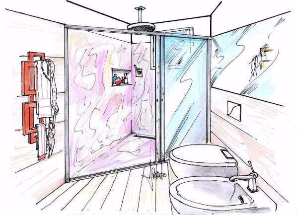 Disegno prospettico di bagno con box doccia triangolare a pavimento
