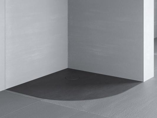 Piatto doccia angolare filo pavimento in resina effetto pietra Razor Glass 1989